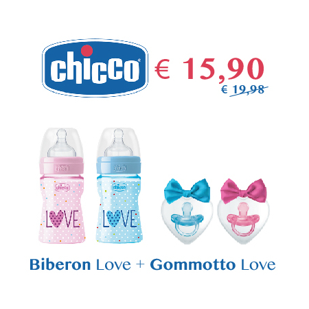 Chicco: Biberon Love 330 ml + Gommotto Love 16/36 mesi